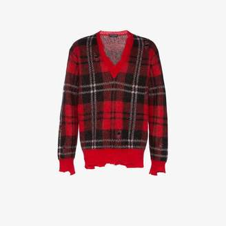 Alexander McQueen checked print with distressed details wool-blend sweater