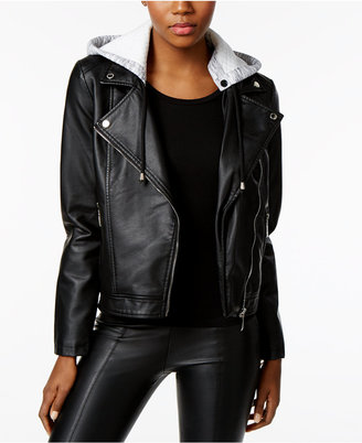 Jou Jou Faux-Leather Hooded Moto Jacket $69.50 thestylecure.com