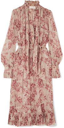 Zimmermann Unbridled Pussy-bow Floral-print Silk-georgette Midi Dress - Antique rose