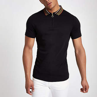River Island Black baroque collar muscle fit polo shirt