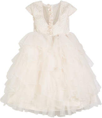 Joan Calabrese Lace & Tulle Gown w/ Embellished 3D Flowers, Size 4-14