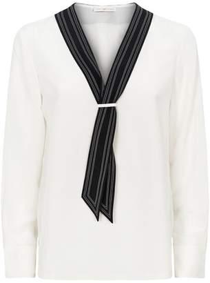 ed689fe216a192 Tory Burch Silk Tie-Neckline Blouse