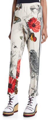 Moncler Floral & Bird Print Straight-Leg Track Pants