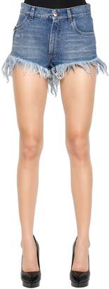 Versus Safety Pin Fringed Denim Shorts