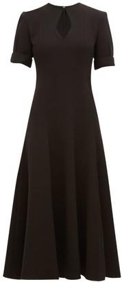Emilia Wickstead Ludovica Keyhole Slit Wool Crepe Midi Dress - Womens - Black