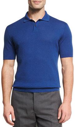 Ermenegildo Zegna Silk-Cotton Perforated Polo Shirt, Medium Blue $595 thestylecure.com