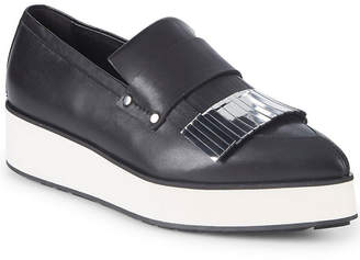 McQ Metallic Leather Platform Loafers
