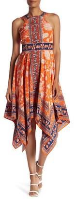 Maggy London Handkerchief Hem Midi Dress