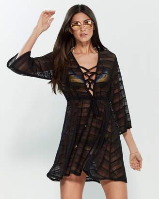 Jordan Taylor Crochet Lace-Up Dress Swim Cover-Up