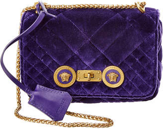 Versace Small Icon Quilted Velvet Shoulder Bag
