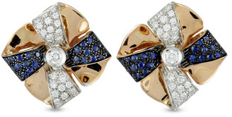 Luca Carati 18K Two-Tone 1.22 Ct. Tw. Diamond & Sapphire Earrings