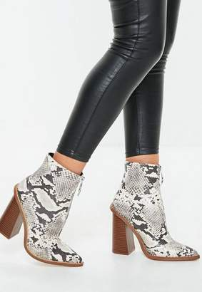 Missguided Gray Snake Print Zip Front Ring Pull Boots