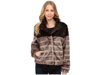Via Spiga Faux Fur Color Block Coat Women's Coat