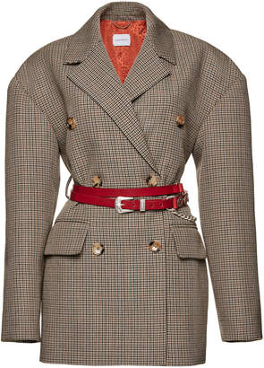 Magda Butrym Bursa Checked Double-Breasted Wool Blazer Size: 36