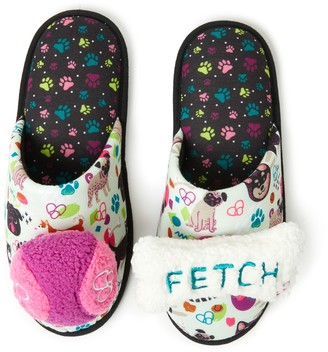 Dearfoams Women's Dog Themed Slippers with Detachable Dog Toys
