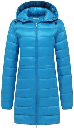 d6bee7e164946 Wantdo Women s Long Down Jacket with Hoodie Packable Ultra Light Weight  Down Coat