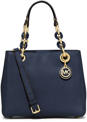 MICHAEL Michael Kors Cynthia Small North-South Satchel Bag, Navy $298 thestylecure.com