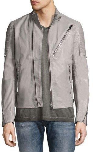 DieselDiesel Leather Café Biker Jacket, Gray