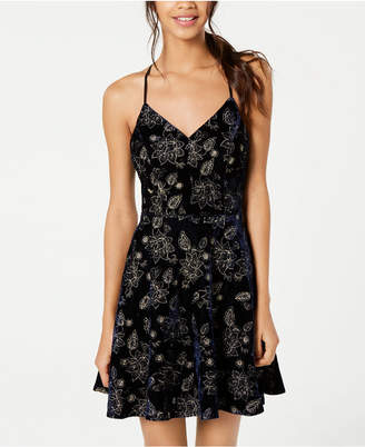 City Studios Juniors' Embroidered-Floral Velvet Fit & Flare Dress