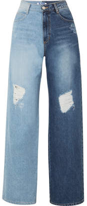 Sjyp Two-tone Distressed High-rise Wide-leg Jeans - Mid denim