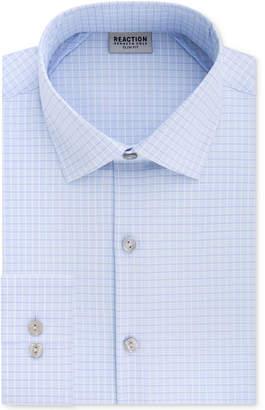 Kenneth Cole Reaction Men's Techni-Cole Slim-Fit Flex Collar Three-Way Stretch Performance Blue Check Dress Shirt
