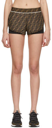 Fendi Brown and Black Forever Track Shorts