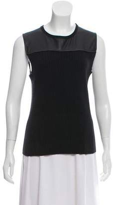 Reed Krakoff Sleeveless Lamb Leather-Accented Top