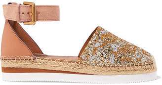 See by Chloe Glittered Leather Platform Espadrilles - Gold