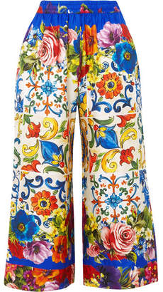 Dolce & Gabbana Cropped Printed Silk-twill Wide-leg Pants - Blue