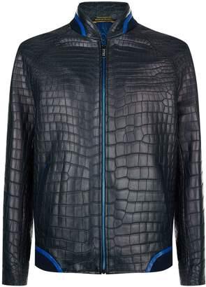 Zilli Crocodile Leather Bomber Jacket