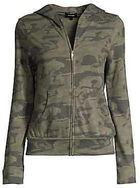 Monrow Women's Camo Fleece Zip-Up Hoodie
