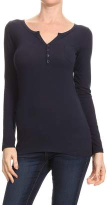 Americana Women's Long Sleeve Deep V-Neck Henley With Button Trim Small to 3XL