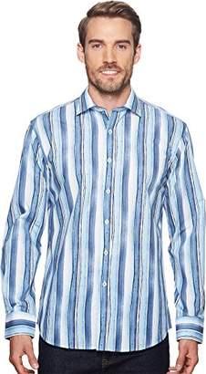 Bugatchi Men's Fitted Long Sleeve Vertical Brush Strokes Design Woven Shirt