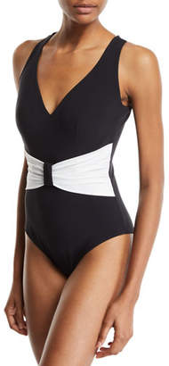 Chiara Boni Claudy Gathered Open-Back One-Piece Swimsuit