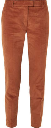 Paul & Joe Cropped Stretch-cotton Corduroy Tapered Pants - Brick