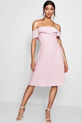 boohoo Off The Shoulder Woven Stripe Skater Dress