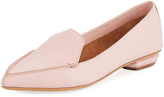 Neiman Marcus Pebbled Pointed-Toe Loafer