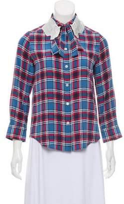 Marc Jacobs Silk Button-Up Top blue Silk Button-Up Top