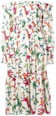 Steffen Schraut bird print off-shoulder dress