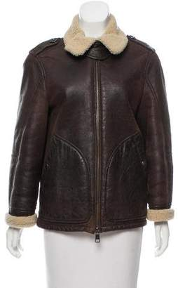 Burberry Zip-Up Leather Jacket