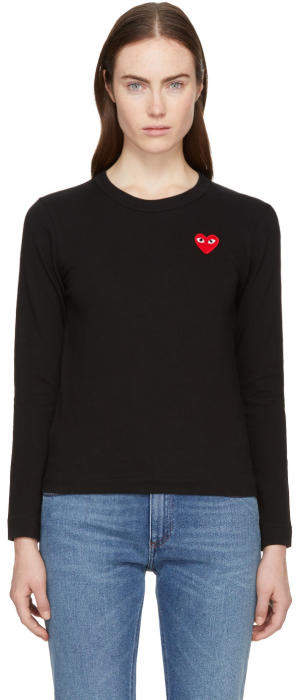 Comme des Garçons Play Black Long Sleeve Heart Patch T-Shirt