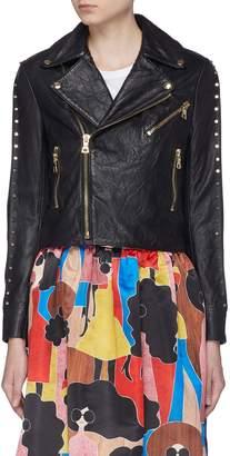 Alice + Olivia 'Cody' studded sleeve cropped leather jacket