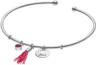 "Silver Plated ""Love"" Tassel Charm Cuff Bracelet"