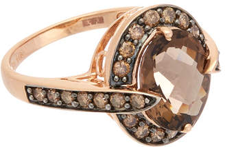 Effy Fine Jewelry 14K Rose Gold 4.06 Ct. Tw. Brown Diamond & Smokey Quartz\Nring