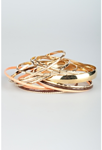 Gold And Coral Stacked Bangles