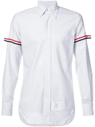 Thom Browne Long Sleeve Button Down With Grosgrain Armband In Grey University Stripe Oxford