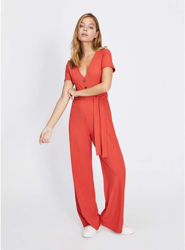 Petite Rust Button Front Ribbed Jumpsuit