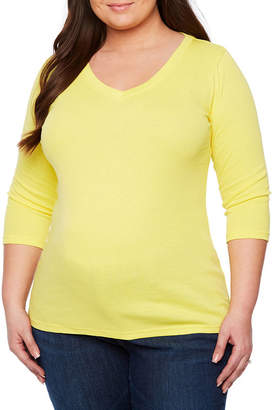 PLANET MOTHERHOOD Planet Motherhood 3/4 Sleeve V Neck T-Shirt - Plus Maternity
