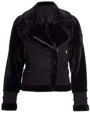 Quiz Black Suede Fur Trim Biker Jacket