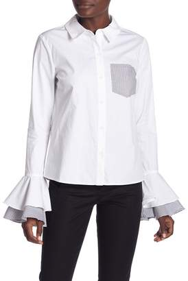 ENGLISH FACTORY Striped Pocket Shirt With Layered Circle Cuffs